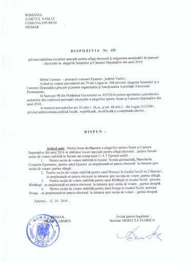 Dispozitia nr 153 Privind stabilirea locurilor pentru afisaj electoral